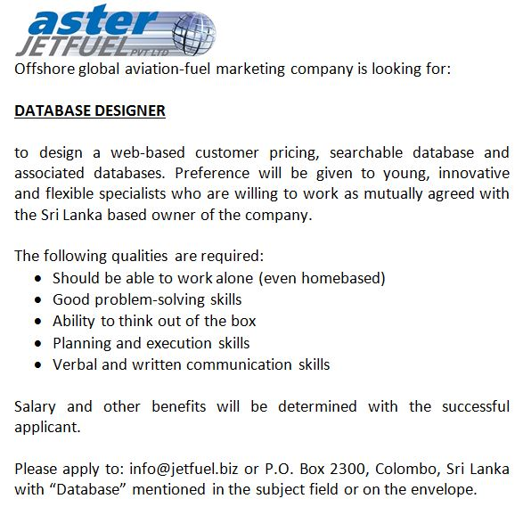 Database Designer Job Vacancy in Sri Lanka