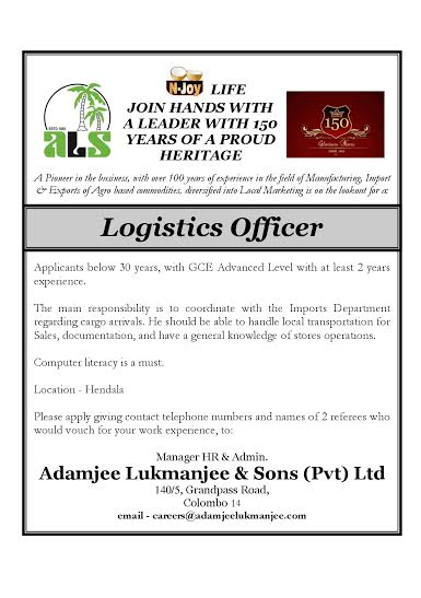 Logistics Officer Job Vacancy In Sri Lanka