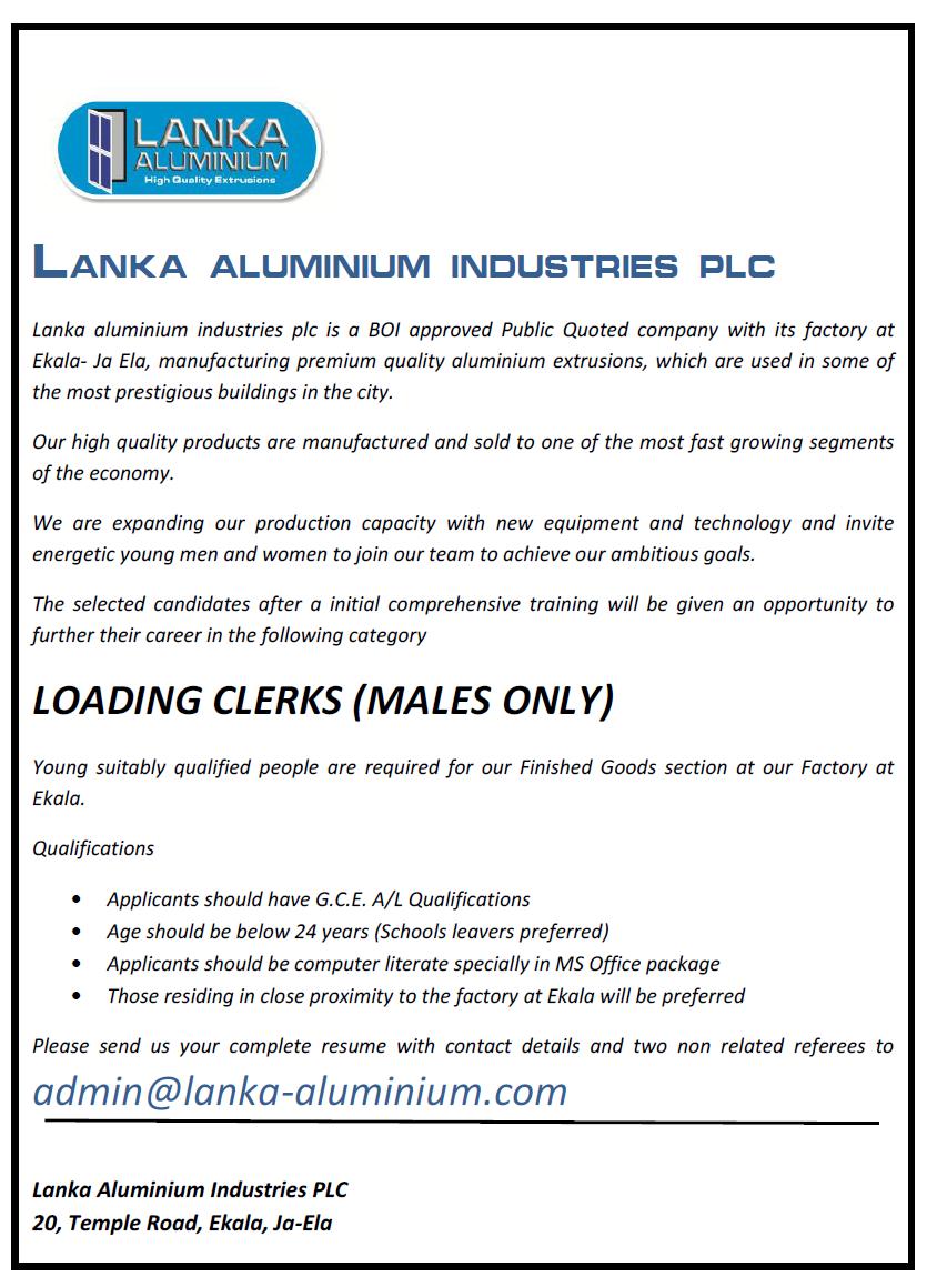Loading Clerks (Factory)