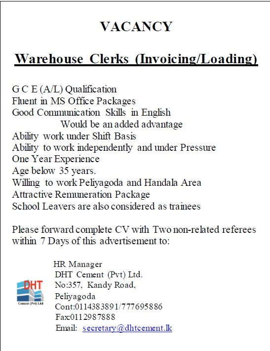 Warehouse Clerks (Invoicing/Loading) Job Vacancy in Sri Lanka