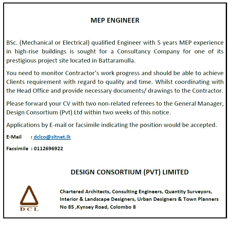 Mep engineer job vacancy in sri lanka mechanical or electrical qualified engineer with 5 years mep experience in high rise buildings is sought for a consultancy company for one of its publicscrutiny Images