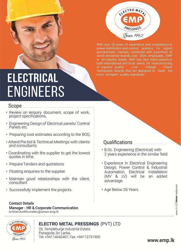 electrical engineer job vacancy in sri lanka