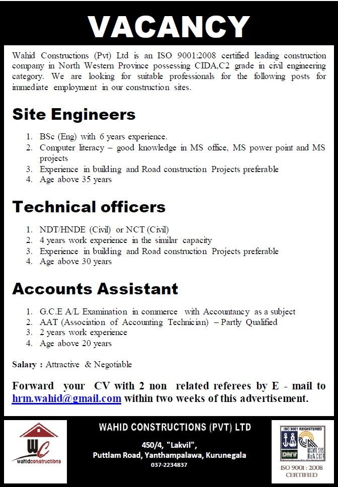 Site Engineers / Technical Officers