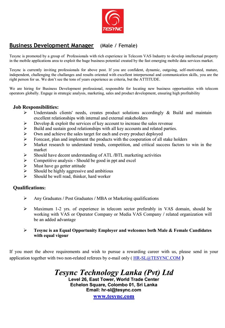 Business Development Manager Male Female