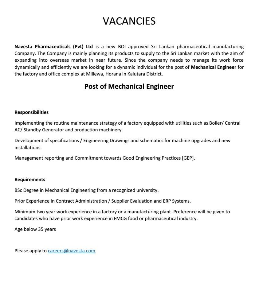 Mechanical Engineer Job Vacancy in Sri Lanka