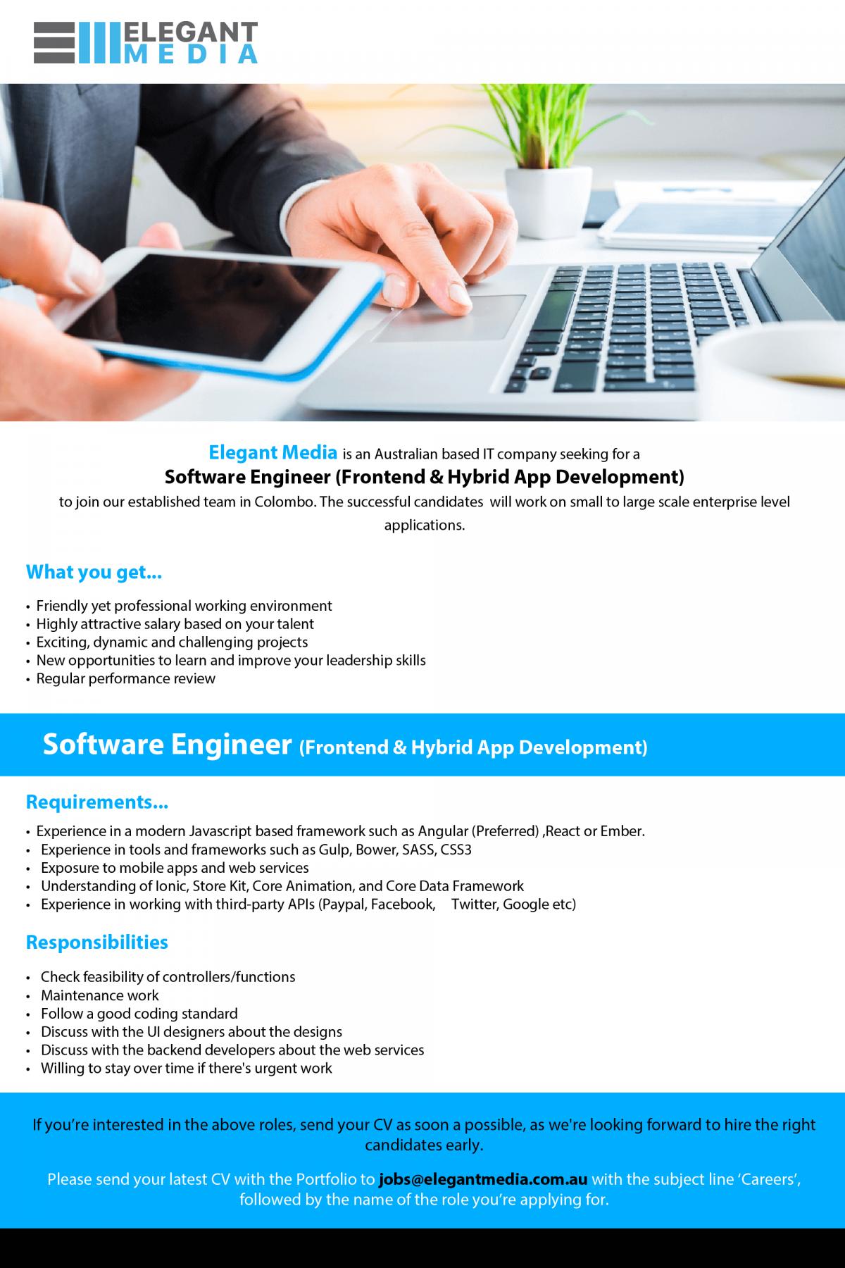 Software Engineer (Frontend & Hybrid App Development) Job Vacancy in ...