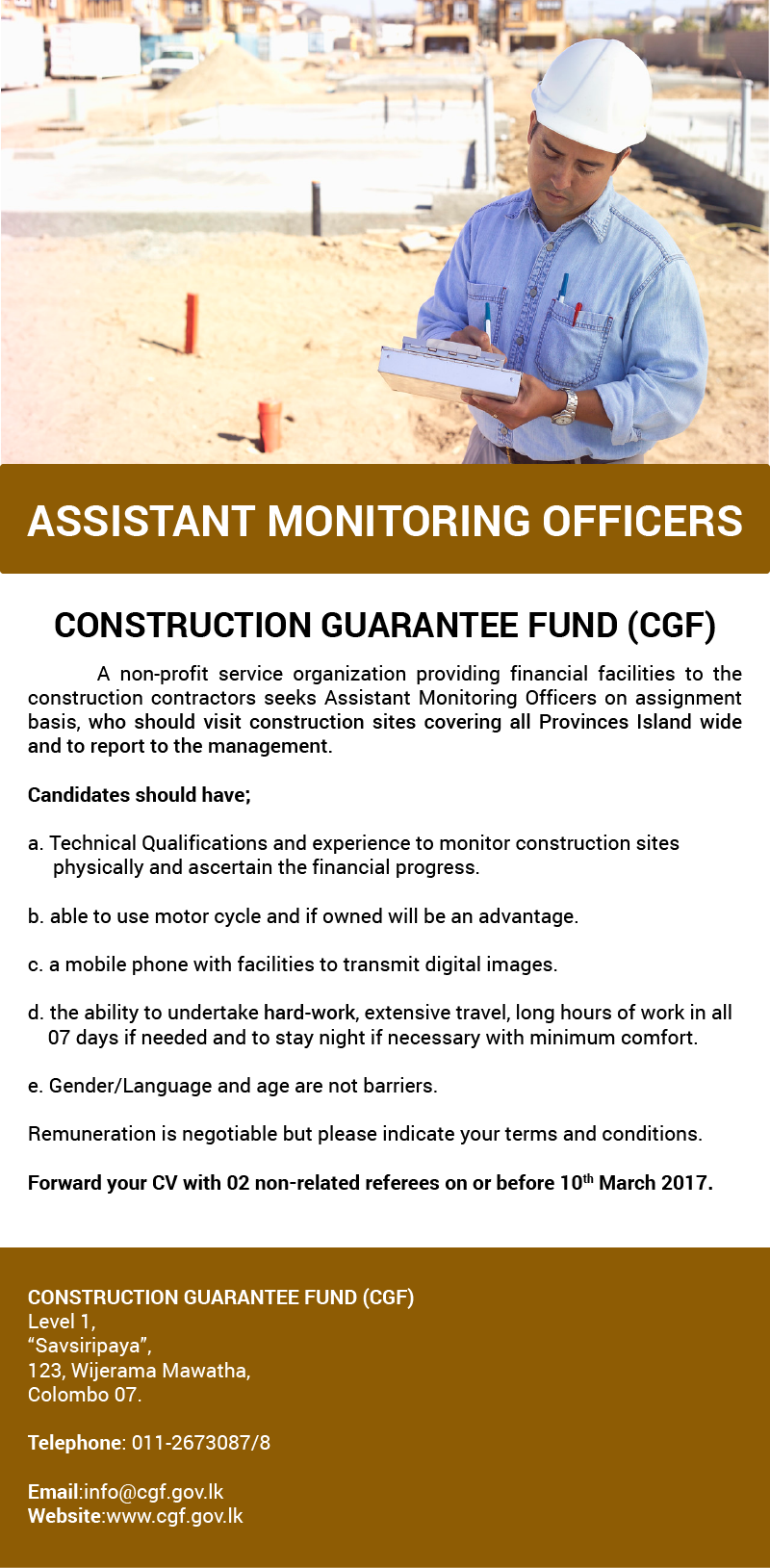 assistant monitoring officers civil engineering job vacancy in a non profit service organization providing financial facilities to the construction contractors seeks assistant monitoring officers on assignment basis