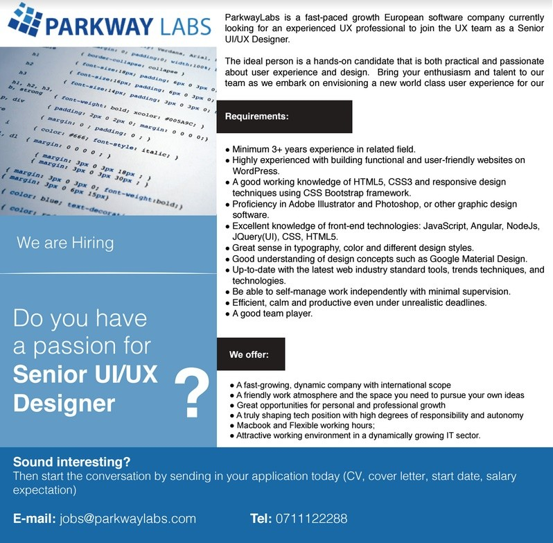 Senior UiUx Designer Job Vacancy In Sri Lanka