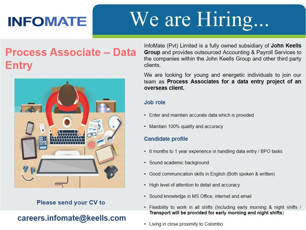 process associate data entry job vacancy in sri lanka candidate profile 6 months to 1 year experience in handling data entry bpo tasks sound academic background good communication skills in english both