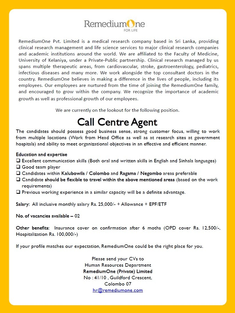 call centre agent job vacancy in sri lanka education and expertise excellent communication skills both oral and written skills in english and sinhala languages good team player