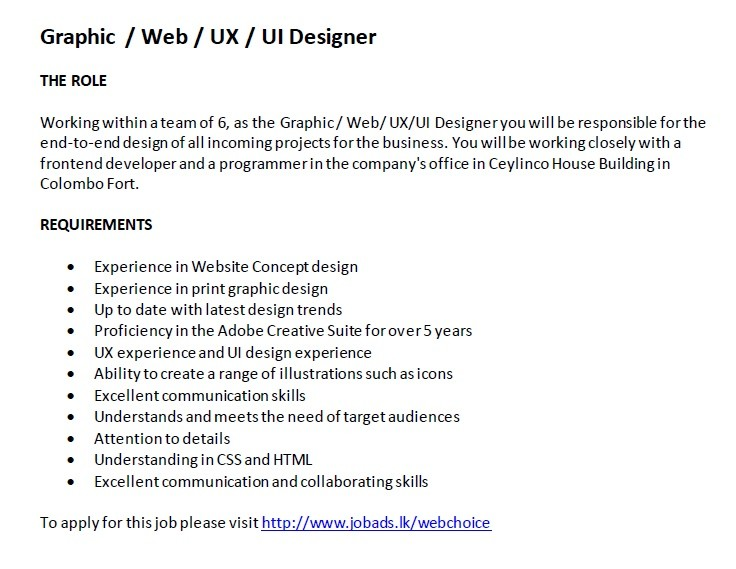Graphic  Web  Ux  Ui Designer Job Vacancy In Sri Lanka