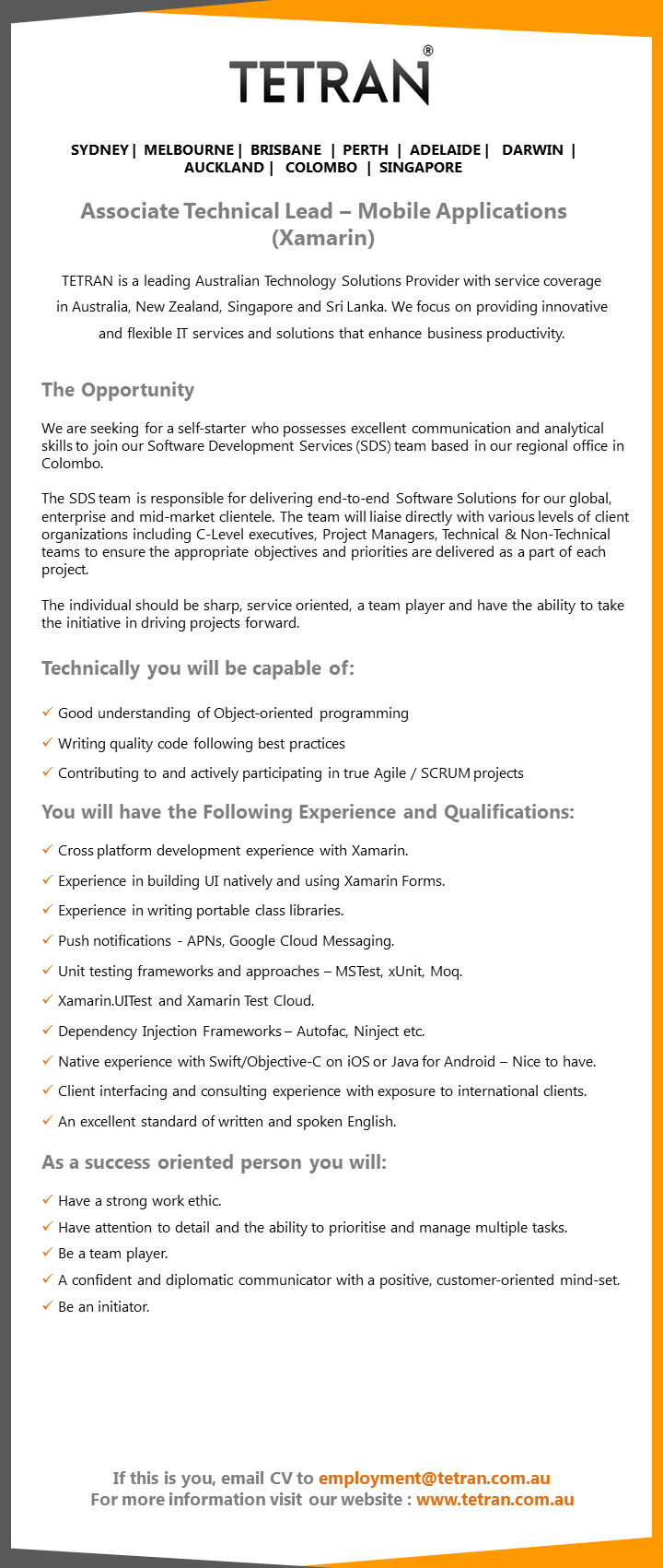 associate technical lead mobile applications xamarin job associate technical lead we are seeking for a self starter who possesses excellent communication and analytical skills to join our software development