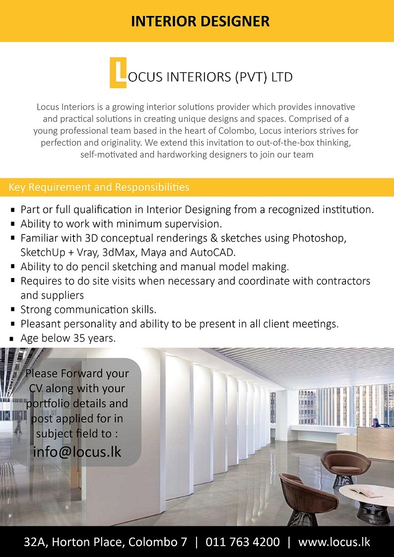 Interior Designer Job Vacancy In Sri Lanka