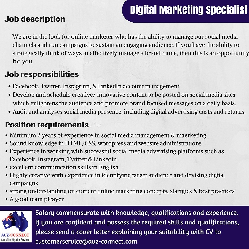 Digital Marketing Specialist  Australia Job Vacancy In Sri Lanka