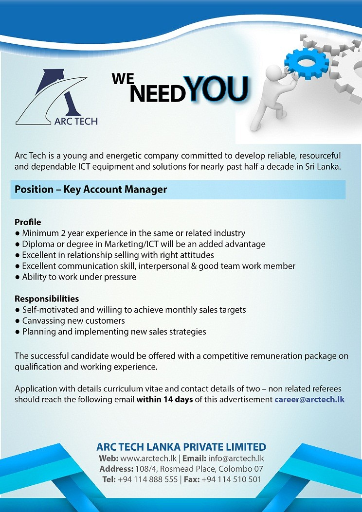 key account manager job vacancy in sri lanka. Black Bedroom Furniture Sets. Home Design Ideas