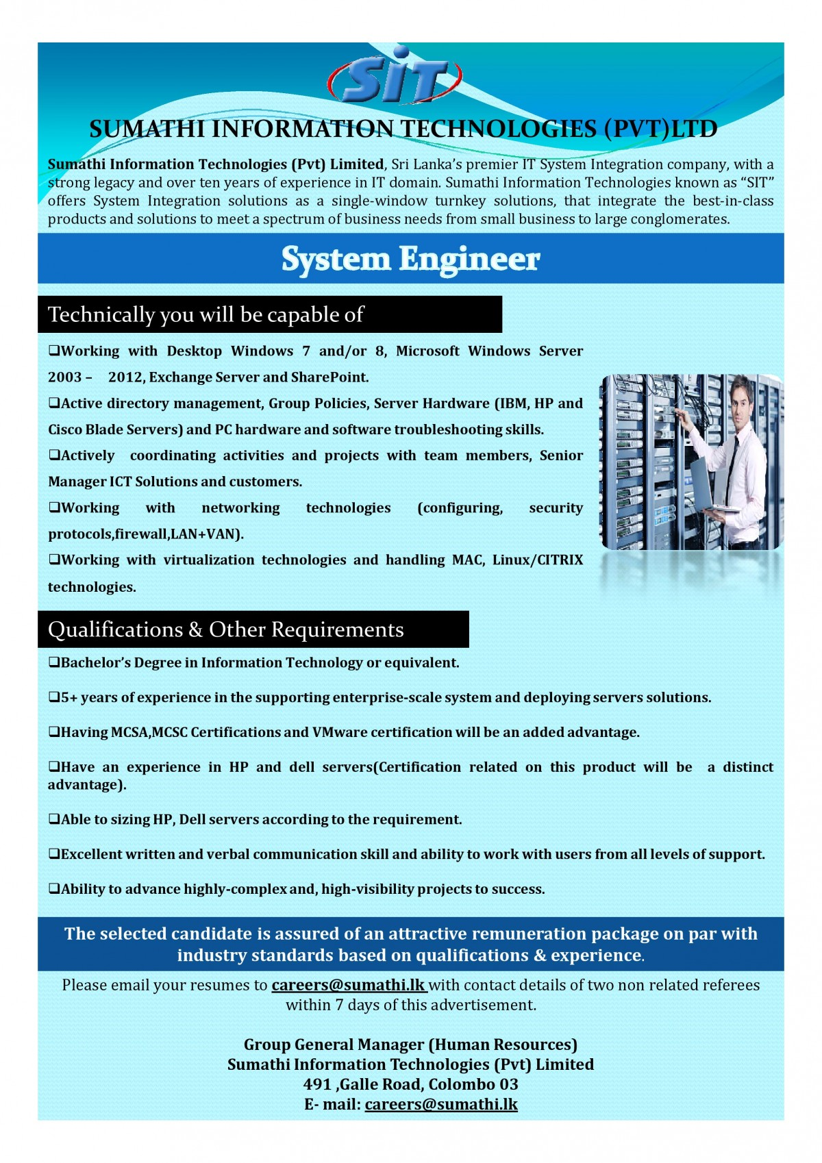 System Engineer Job Vacancy In Sri Lanka