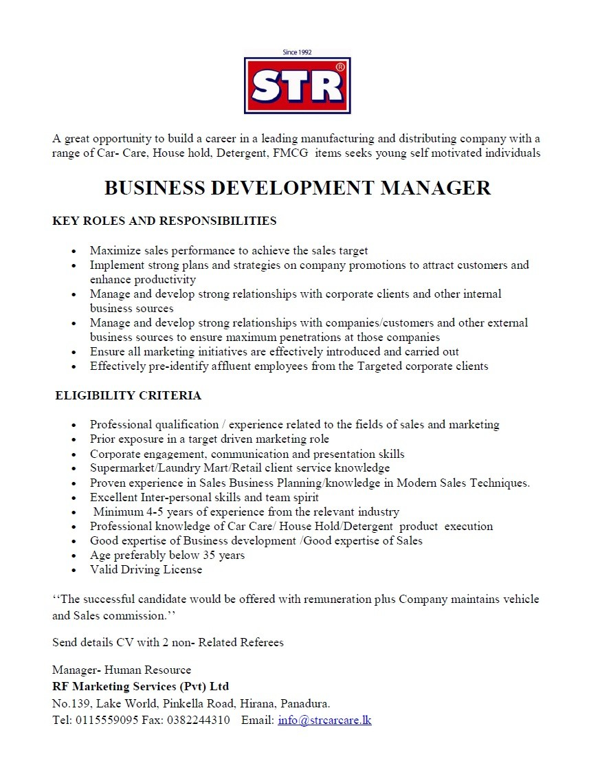 Business Development Manager: Key Responsibilities 59