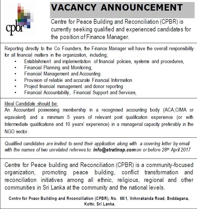 Finance Manager Job Vacancy In Sri Lanka