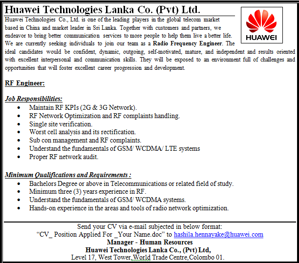 RF Engineer Job Vacancy in Sri Lanka