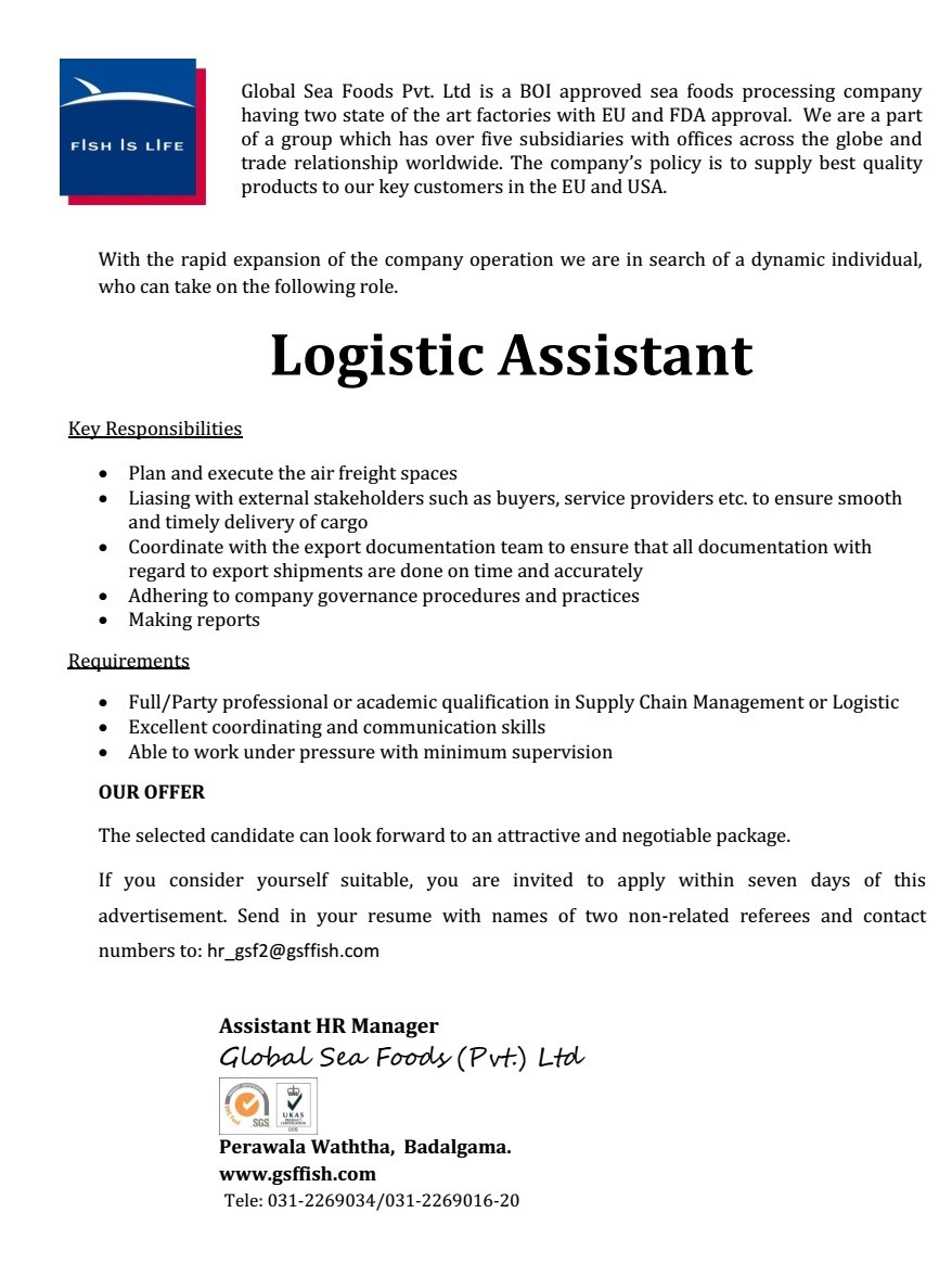 Superior Requirements   Full/Party Professional Or Academic Qualification In Supply  Chain Management Or Logistic. Excellent Coordinating And Communication  Skills.