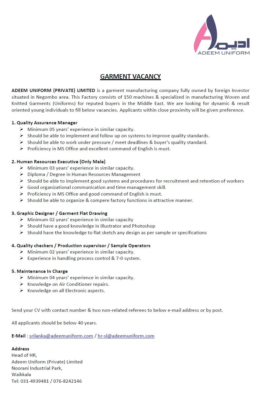 Garment Vacancies