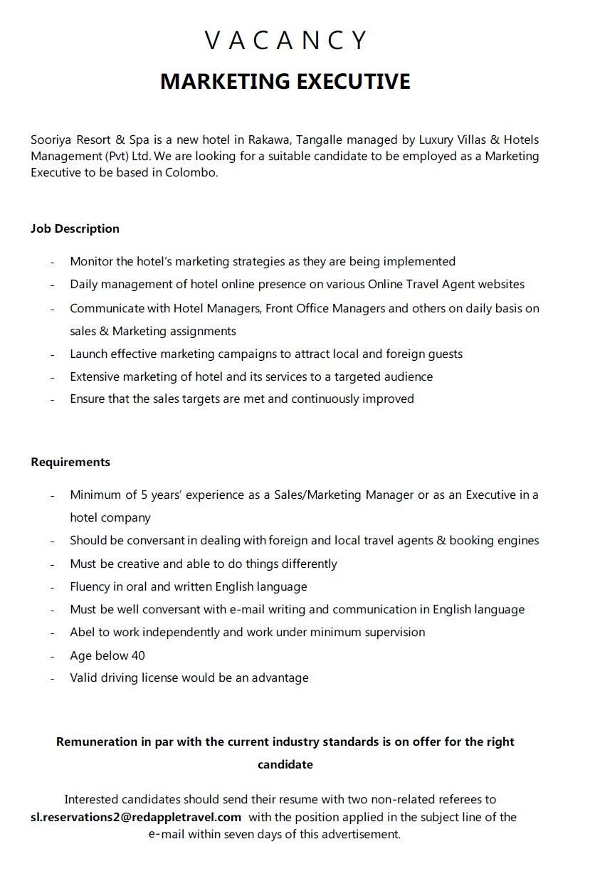 Attractive Requirements   Minimum Of 5 Yearsu0027 Experience As A Sales/Marketing Manager  Or As An Executive In A Hotel Company. Should Be Conversant In Dealing With  ...