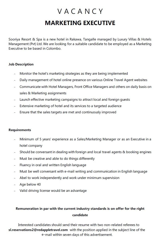 Marketing Executive Job Vacancy in Sri Lanka