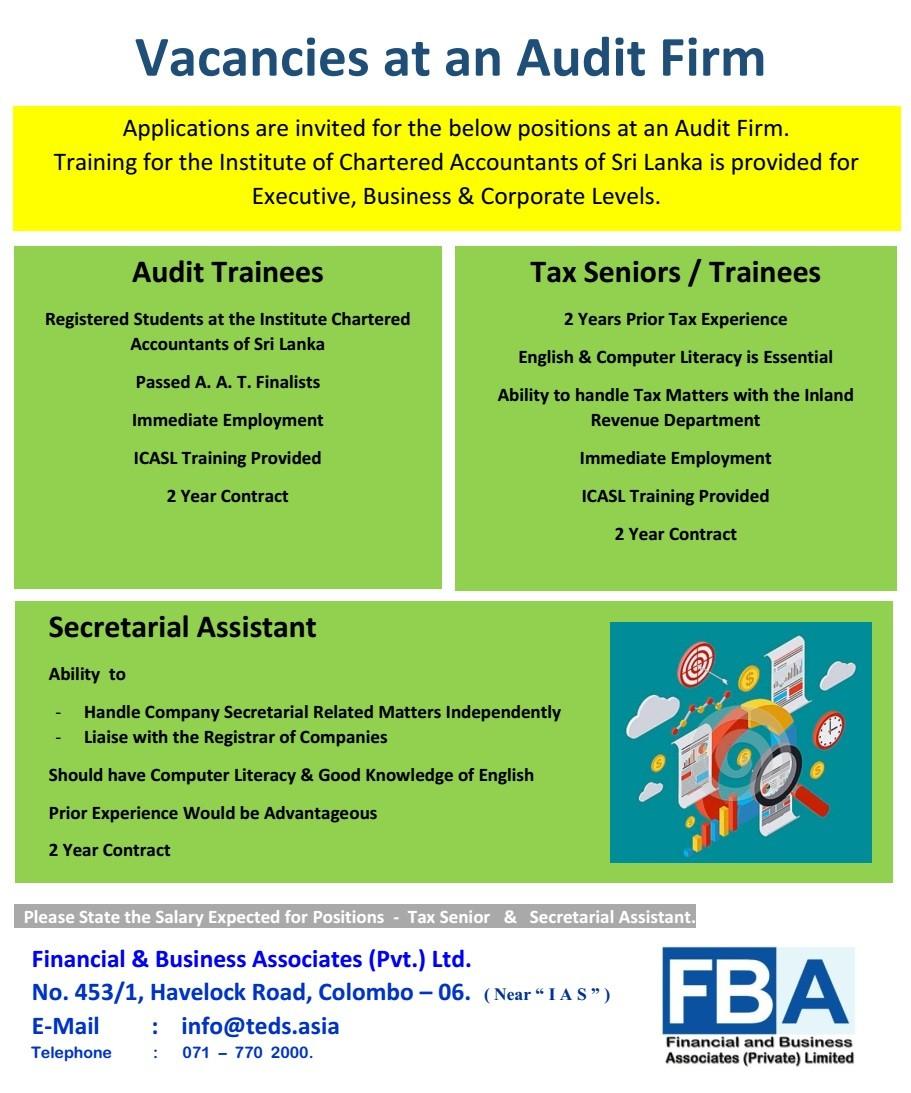 Audit Trainees / Tax Seniors / Trainees Job Vacancy In Sri