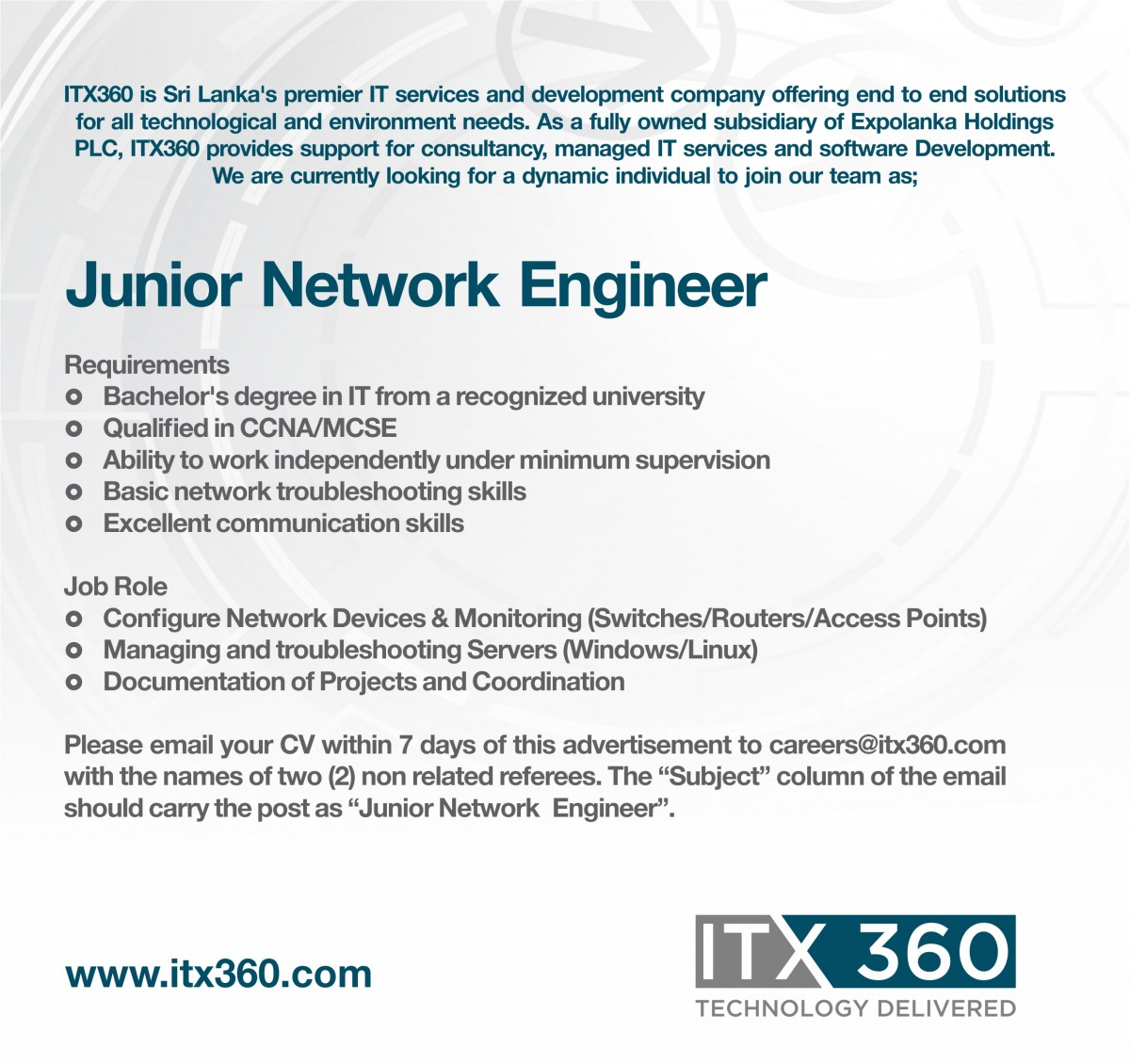 Junior Network Engineer Job Vacancy in Sri Lanka – Jr Network Engineer Jobs