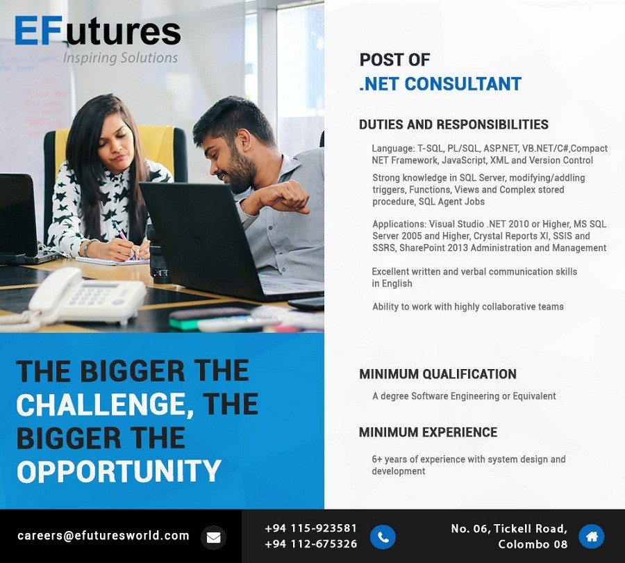 Net consultant job vacancy in sri lanka for Design consultant jobs