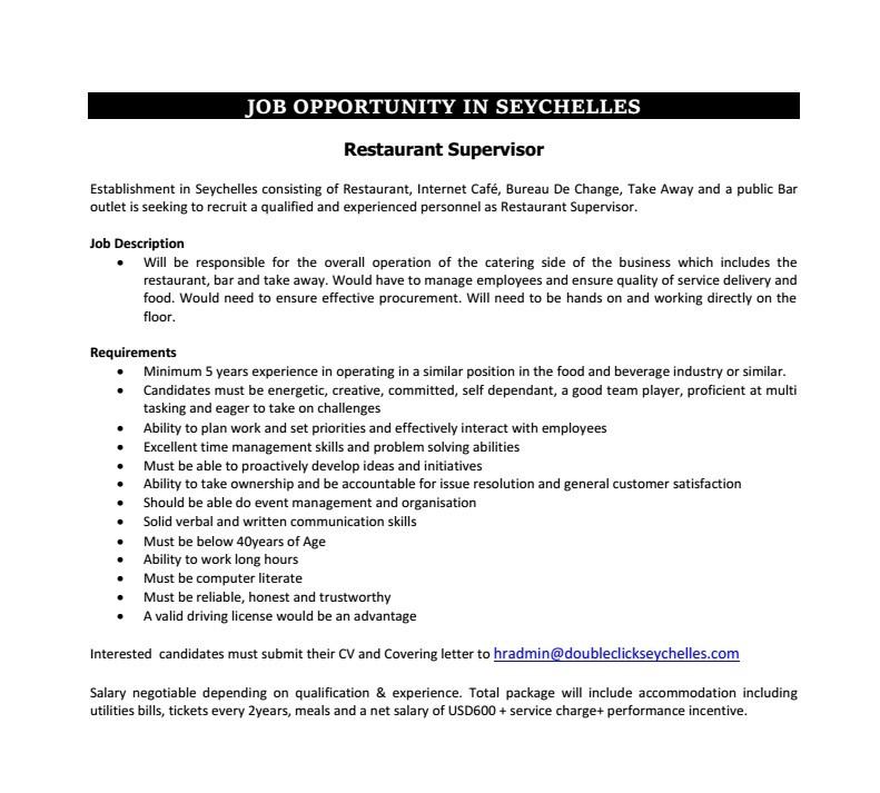 Restaurant Supervisor Job Vacancy in Sri Lanka