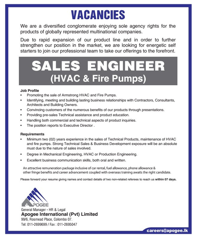 Sales Engineer (HVAC & Fire Pumps) Job Vacancy in Sri Lanka