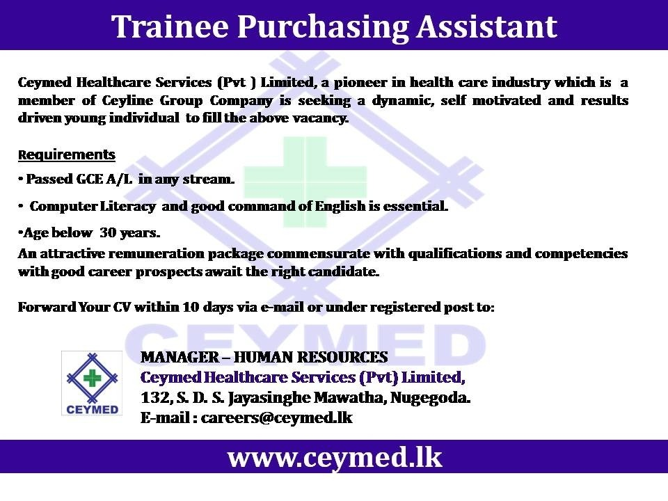 Trainee Purchasing Assistant Job Vacancy In Sri Lanka