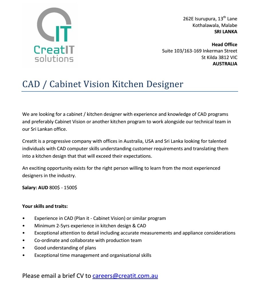 Cad Cabinet Vision Kitchen Designer Job Vacancy In Sri Lanka