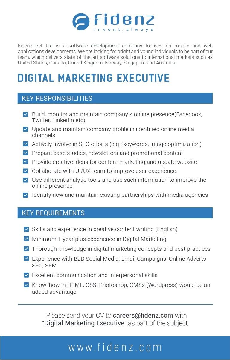 Digital Marketing Executive Job Vacancy in Sri Lanka