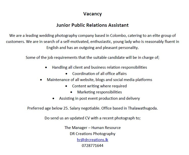 Junior Public Relations Assistant Job Vacancy in Sri Lanka