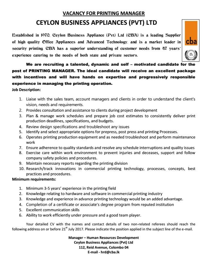 Printing Manager Job Vacancy In Sri Lanka