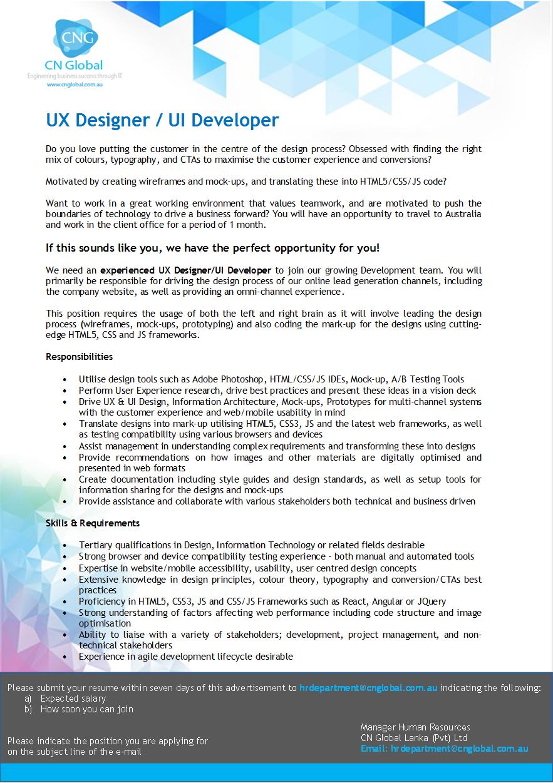 ux designer job description