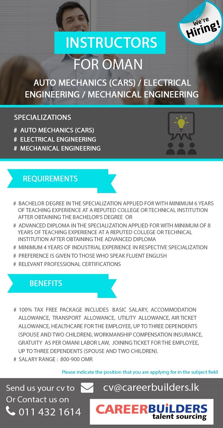 Teachers / Instructors for Oman in Electrical Engineering