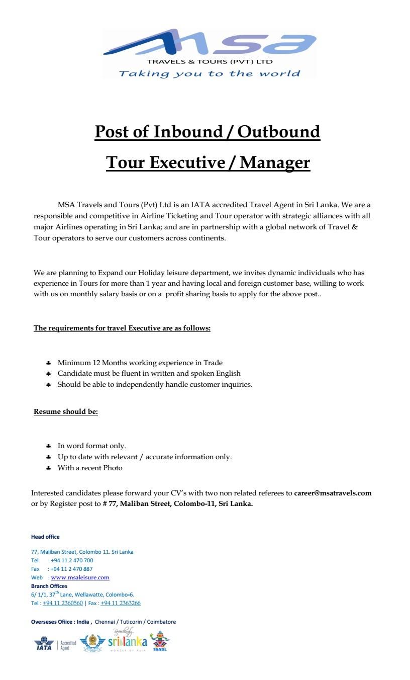 tour manager job description tour manager job description cover