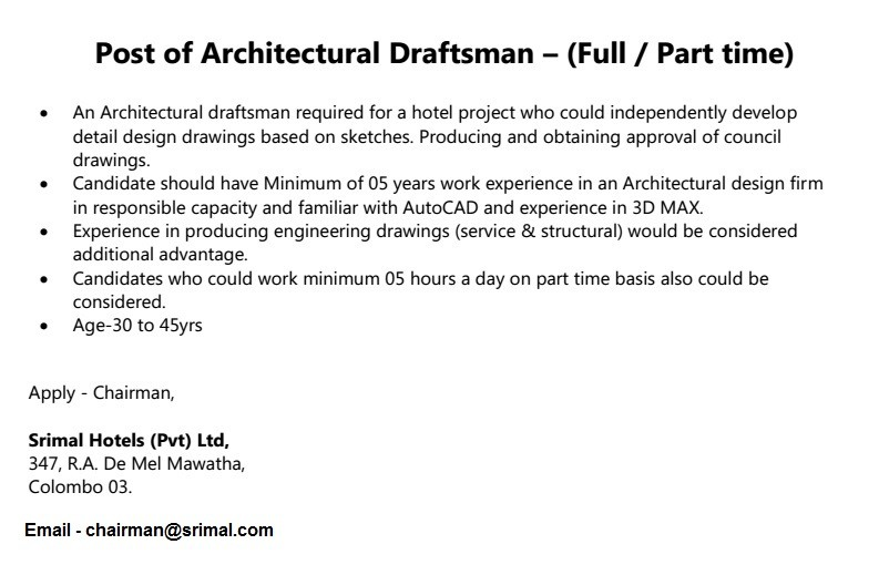 Architectural Draftsman Full Part Time