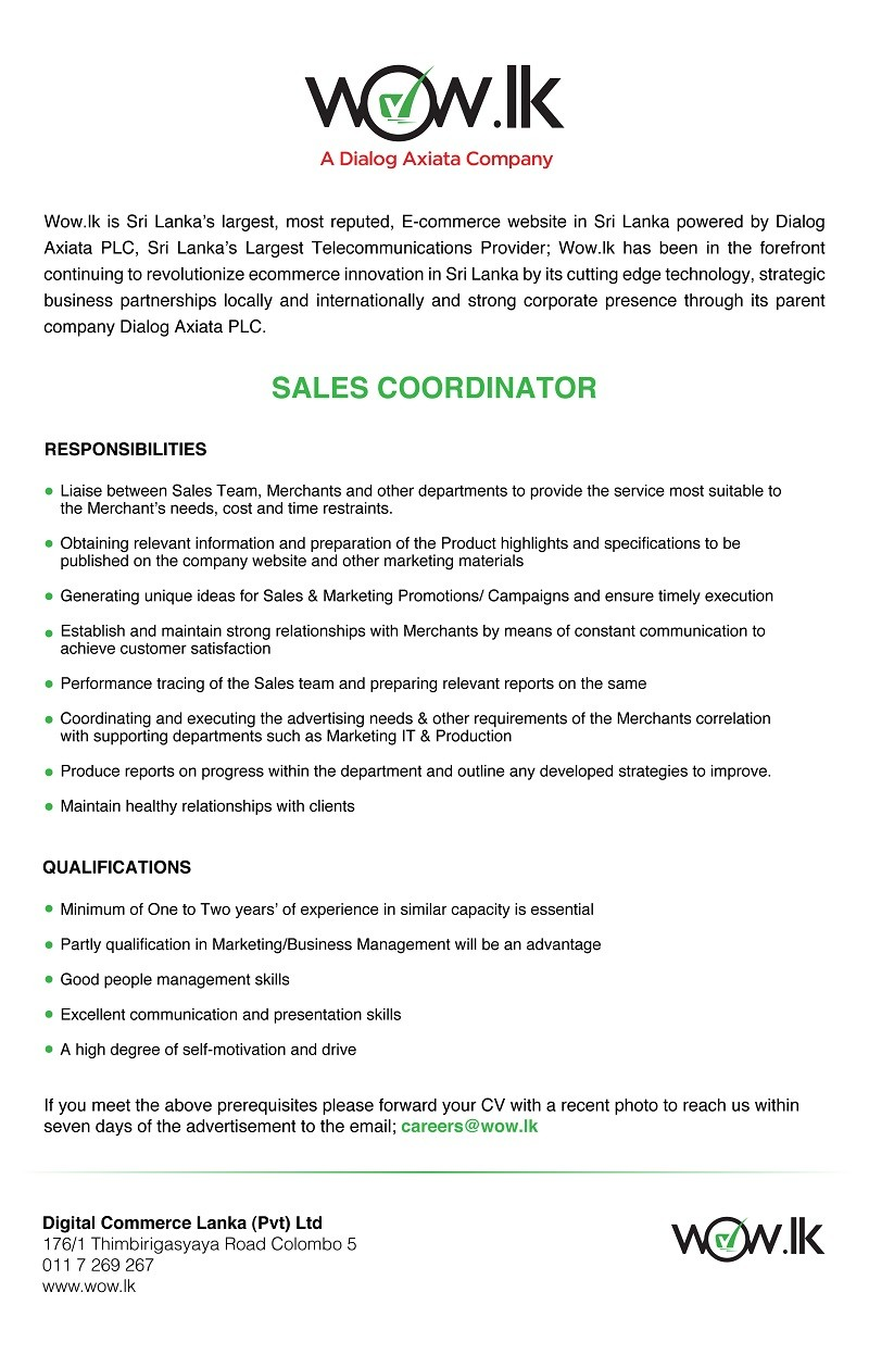 Sales Coordinator Job Vacancy in Sri Lanka