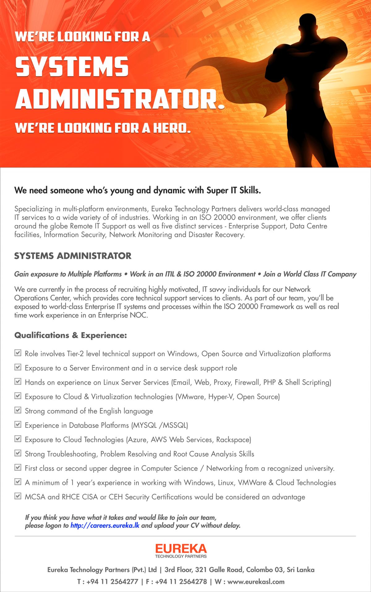 Systems Administrator Job Vacancy in Sri Lanka