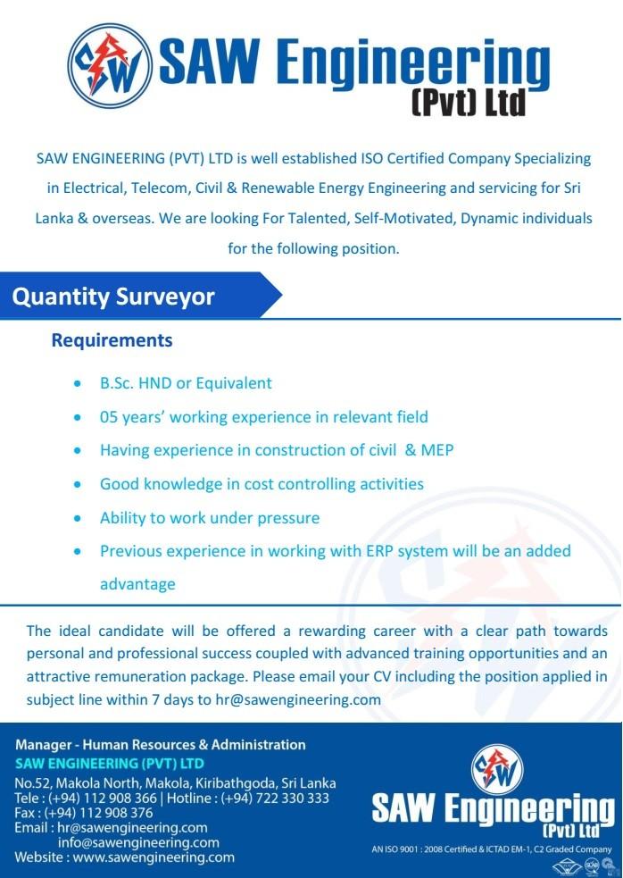 Quantity Surveyor Job Vacancy in Sri Lanka