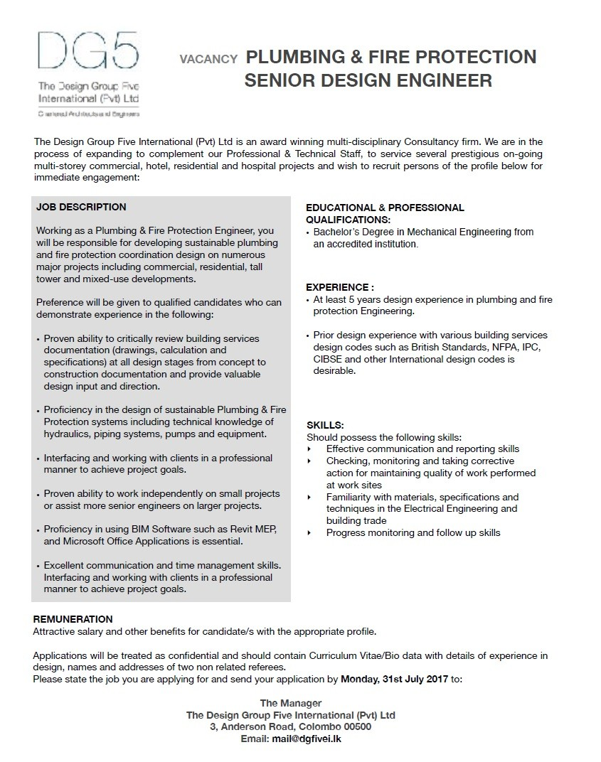 QUALIFICATIONS   Bacheloru0027s Degree In Mechanical Engineering From Working  As A Plumbing U0026 Fire Protection Engineer, You Will Be Responsible For  Developing ...