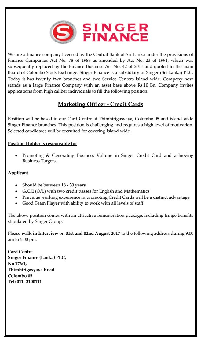 Marketing Officer  Credit Cards Job Vacancy In Sri Lanka