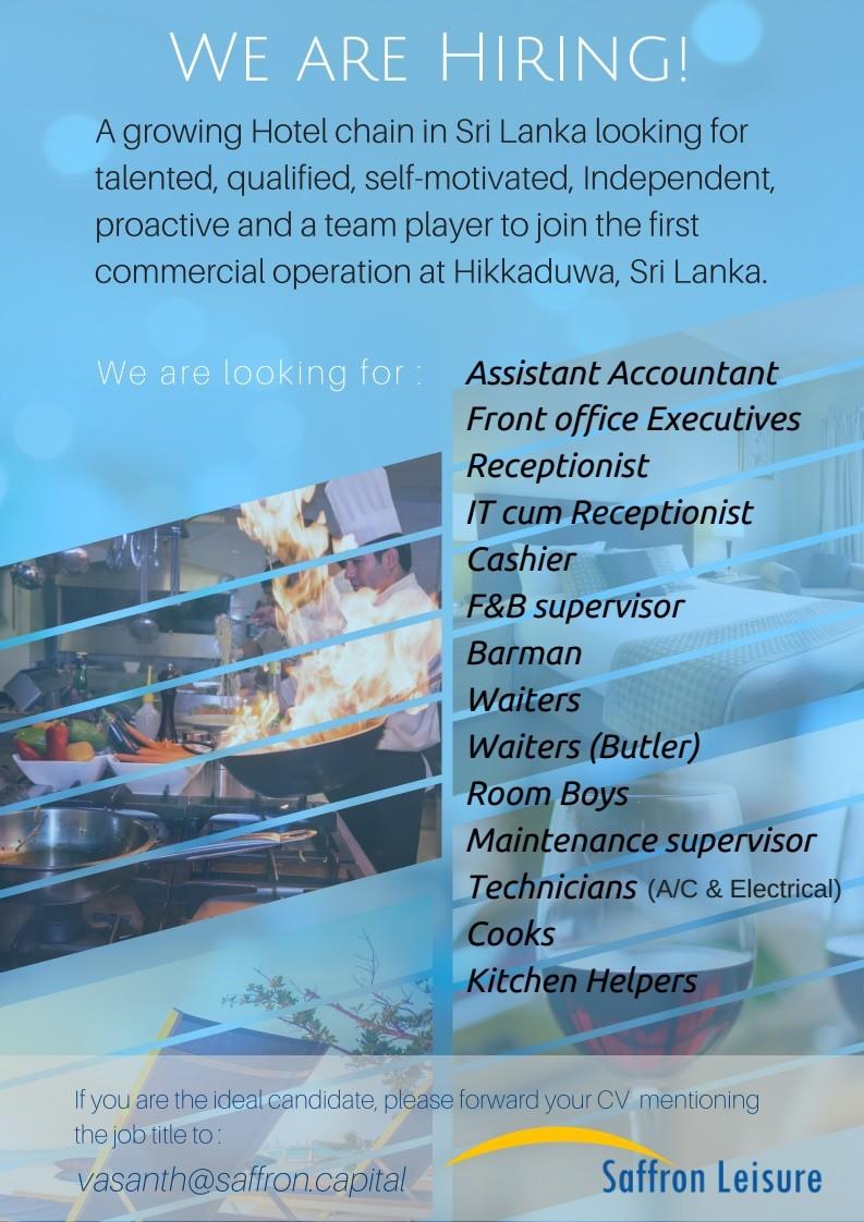 Hotel Vacancies Job Vacancy in Sri Lanka