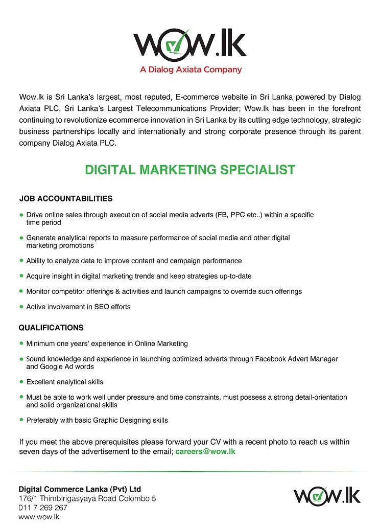 Digital Marketing Specialist Job Vacancy In Sri Lanka