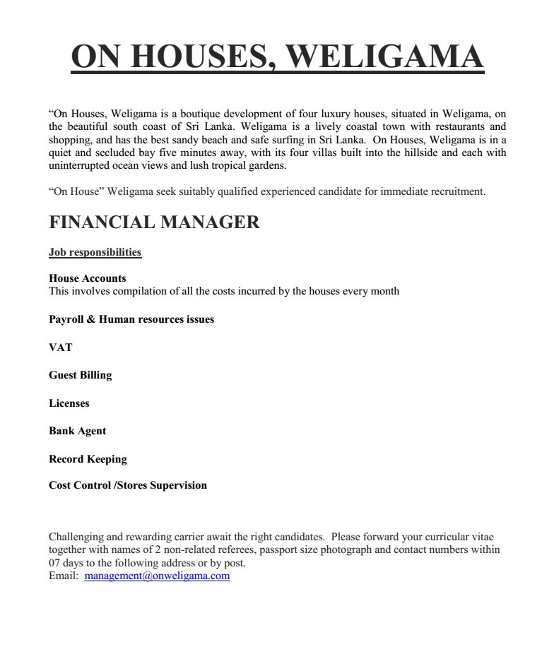 Financial Manager Job Vacancy In Sri Lanka