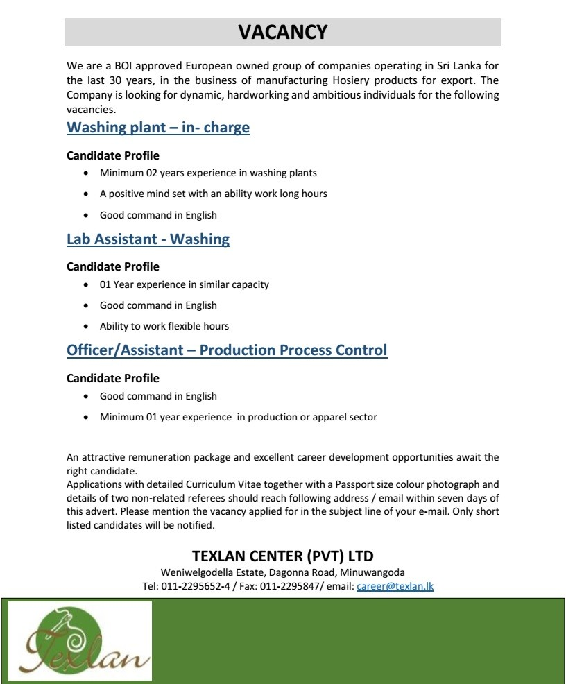 Washing plant - in-charge / Lab Assistant - Washing / Office